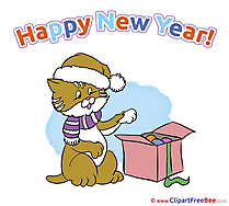 Cat Present New Year Clip Art for free