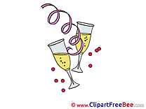 Champagne printable Illustrations New Year