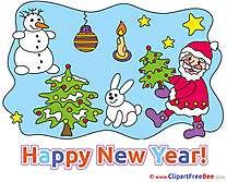 Hare Snowman Santa Claus Pics New Year Illustration