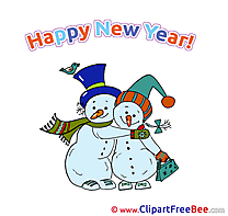 In Love Snowmen Pics New Year Illustration