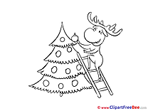 Ladder Coloring Deer New Year Clip Art for free