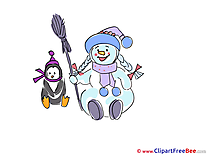 Little Penguin Snowman printable New Year Images