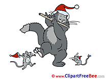 Music Cat Mice Cliparts New Year for free