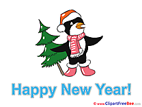 Penguin Tree New Year Clip Art for free