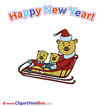 Sleigh Bear New Year Illustrations for free