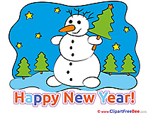 Stars Snowman New Year Clip Art for free
