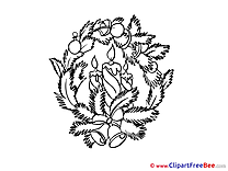 Wreath Coloring download New Year Illustrations