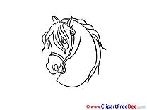 Head printable Illustrations Horse