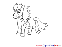 Horse Coloring Clip Art for free