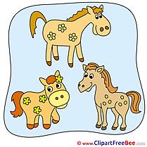 Three Horses Clip Art for free