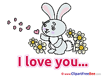 Rabbit Flowers Clip Art download I Love You