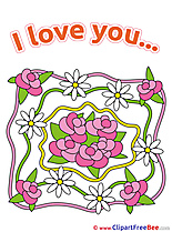 Roses Chamomiles Flowers Clipart I Love You free Images