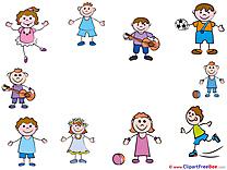 Funny Kids Kindergarten Illustrations for free