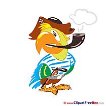 Parrot smokes Pics Kindergarten Illustration