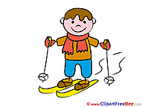 Ski Boy printable Illustrations Kindergarten