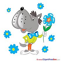 Wolf Flowers printable Illustrations Kindergarten
