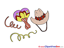 Cowboy Maracas Hat Pics Party Illustration