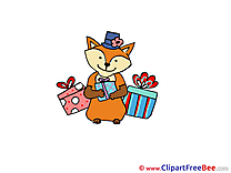 Fox with Gifts Pics Party Illustration