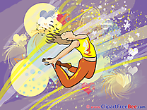 Jumping Girl Dances Clipart Party Illustrations