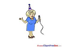 Karaoke Woman printable Illustrations Party