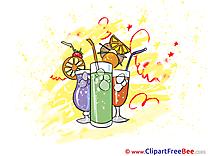 Orange Juice Coctails Pics Party Illustration