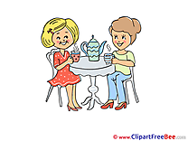 Table Tea Kettle Party Illustrations for free