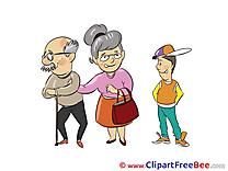 Grandson Grandfather Grandma free Illustration download