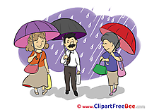 Rain Umbrellas People free printable Cliparts and Images