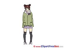 Scarf Jacket Girl printable Images for download