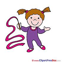 Gymnast Ribbon printable Illustrations for free