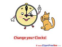 Cat Clock Pics Summer Illustration