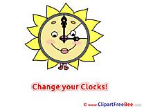 Clock Sun Clipart Summer Illustrations