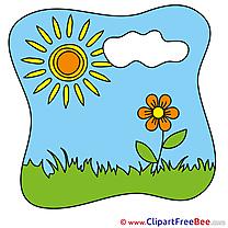 Cloud in Sky Sun Clipart Summer Illustrations
