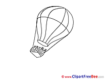 Coloriage Air Balloon Cliparts printable for free