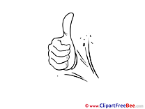 Coloring Hand Clipart Thumbs up Illustrations