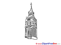 Big Ben London Cliparts printable for free