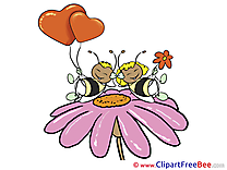 Bee Flower Clipart Valentine's Day Illustrations