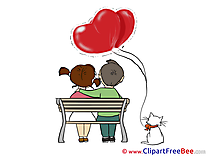 Bench Balloons Love printable Valentine's Day Images