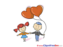 Kids Balloons Valentine's Day Clip Art for free