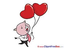 Piggy Balloons Pics Valentine's Day free Cliparts