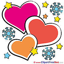 Snowflakes Hearts Clipart Valentine's Day Illustrations