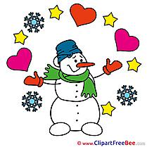 Snowman Pics Valentine's Day Illustration