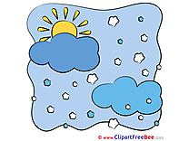 Winter Snowflakes  Cloud Sun Cliparts printable for free