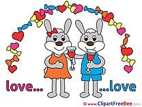 Bunnies Glasses of Wine Cliparts Wedding for free
