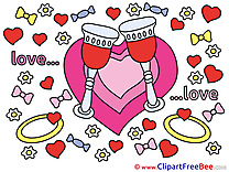 Glasses Heart Rings Clipart Wedding Illustrations