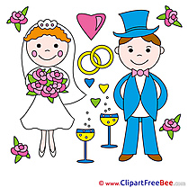 Groom and Bride Wedding Illustrations for free