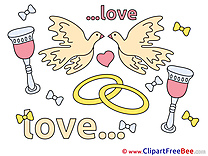Love Pigeons Rings download Wedding Illustrations