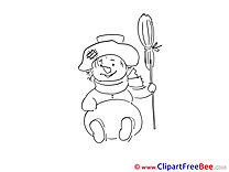 Broom Snowman Pics Winter free Cliparts