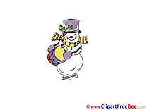 Drum Snowman Pics Winter Illustration