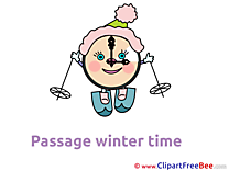 Pics Ski Clock Winter Illustration